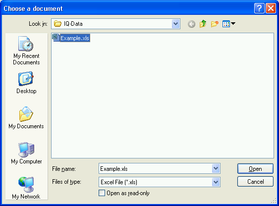 Open file - import of external formats