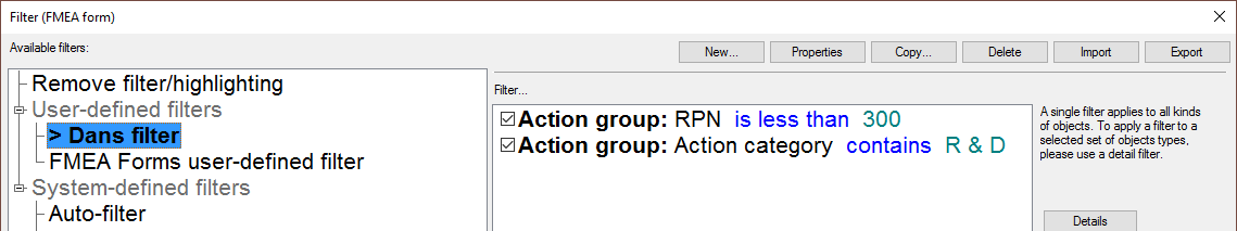 filter categories: action groups