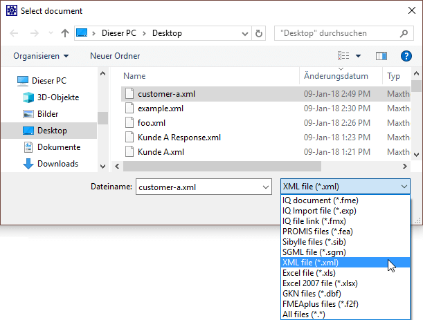 """select """"XML files"""""""