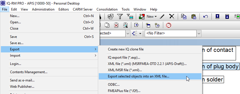 File -> Export -> Export selected objects to XML file