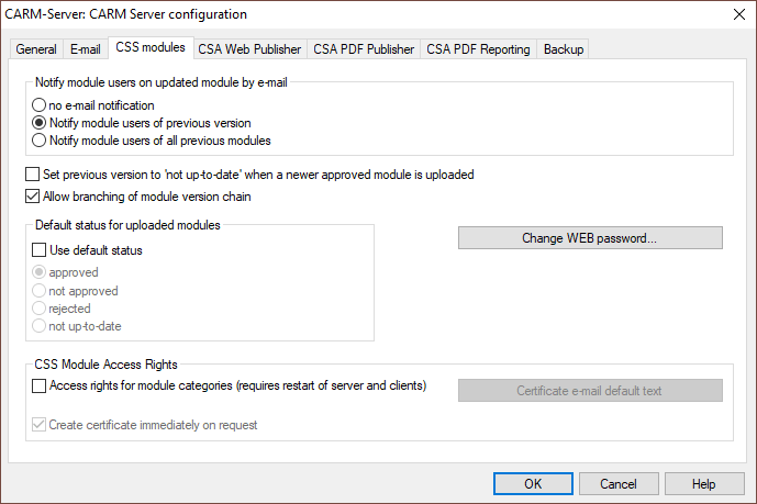 Administrator settings dialog