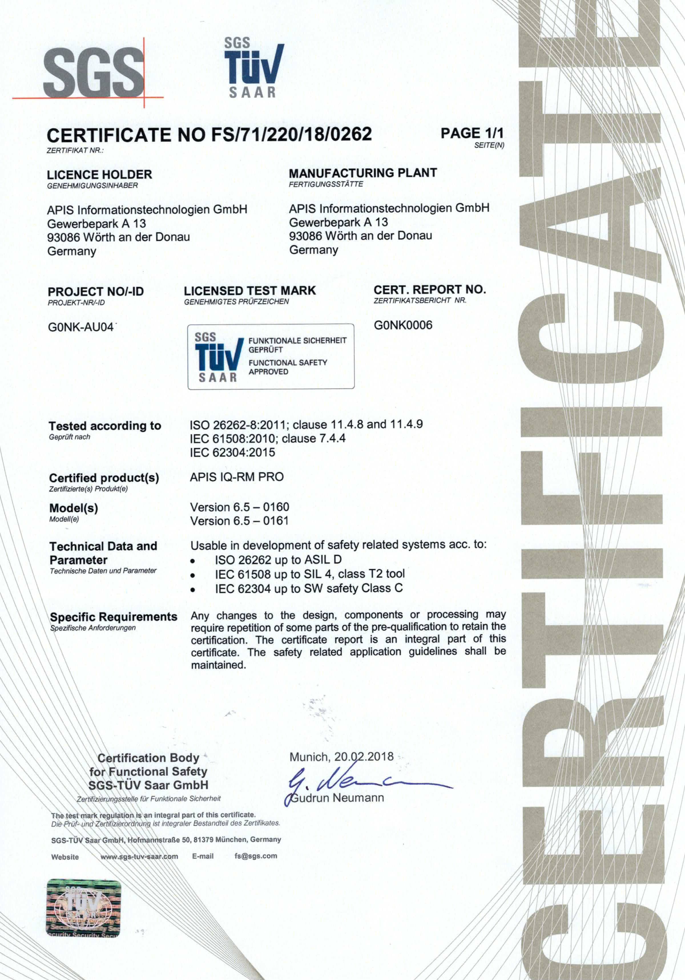 Functional Safety Approved Software | APIS IQ-Software | ISO
