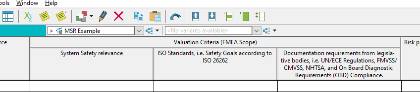 MSR Example when using valuation criteria