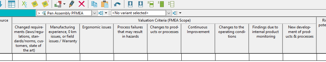PFMEA Scope analysis valuation criteria