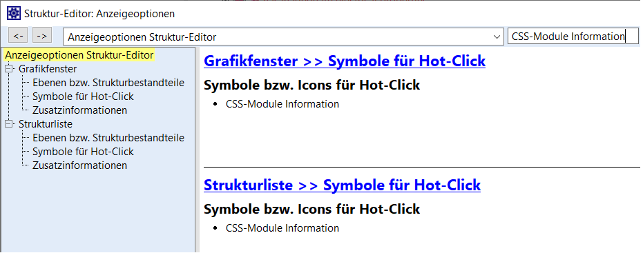 Activate CSS Module Info in Display options