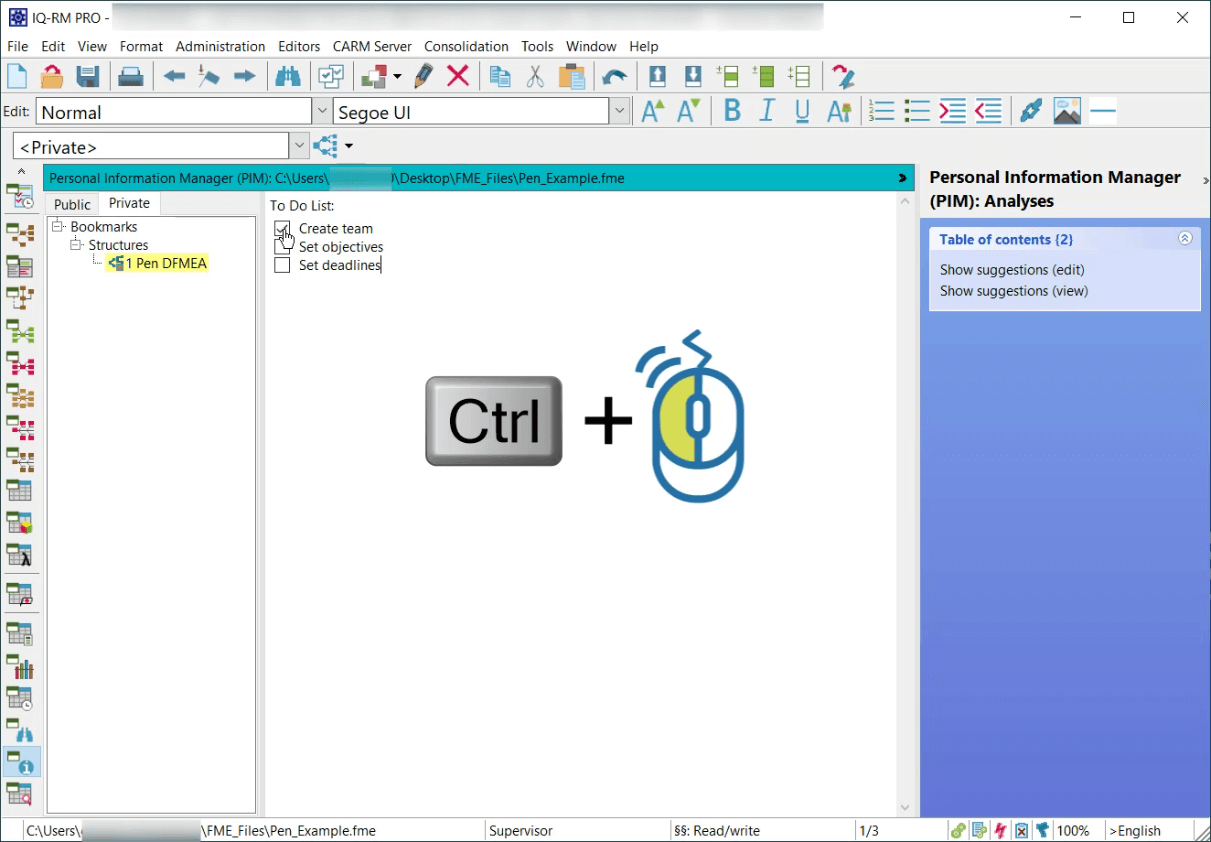 New Checklist feature in PIM Editor and Notes