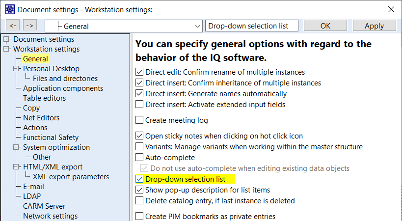 Display options for drop-down